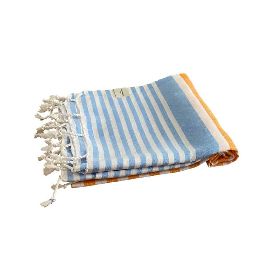 Blå orange hamam handduk