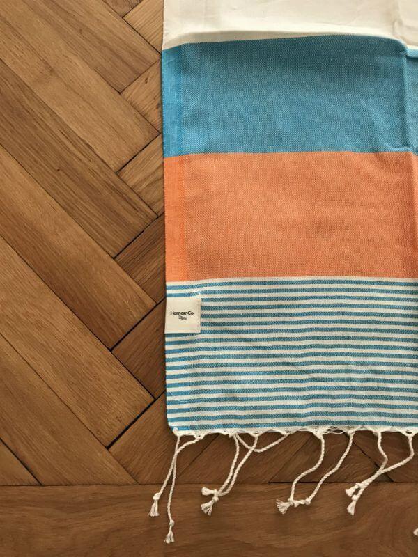Sirolo – Turkos/orange hamam handduk