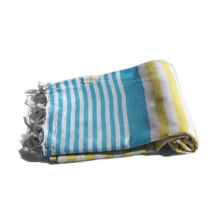 Blå och gul hamam handduk